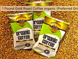 1 Pound Organic Gold Roast Coffee organic (Preferred Grind)